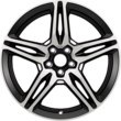 "Alloy Wheel 19"" 5 x 2-spoke design, Black Machined"